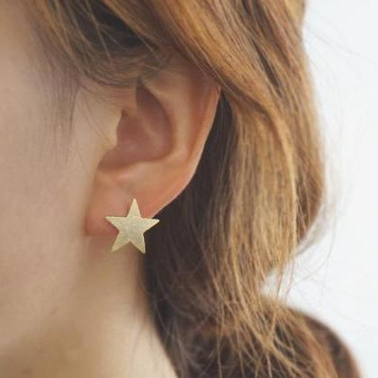 Gold star earrings,sterling silver earrings,gold earrings,blushed earrings,friendship jewelry,star,gift,make a wish,gift for her,GGE19