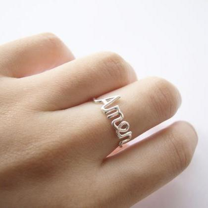 Silver Amen script ring,sterling silver,wedding ring,letter ring,delicate ring,stack ring,silver wire ring,holiday gift,gift idea,SGR52