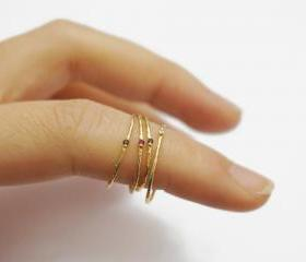 SET gold skinny rings,sterling silver,stack ring,1mm,crystal ring,hammered ring,knuckle ring,stack ring,minimalist jewelry,gift