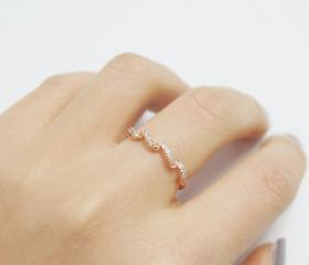 Rose gold crystal wave ring,sterling silver,delicate ring,dainty ring,simple silver ring,stack ring,wedding band,gift idea,RGR100
