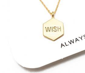 "Gold Hexagon ""WISH"" necklace,sterling silver,friendship,simple jewelry,delicate necklace,geometric jewelry,boho chic,wish necklace"